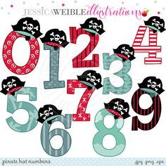 ON SALE Pirate Hat Numbers Cute Digital Clipart - Commercial Use OK - Pirate Clipart - Numbers with Pirate Hats, Pirate Theme Pirate Birthday, Pirate Theme, Pirate Party, Pirate Clip Art, Jungle Crafts, Birthday Bulletin Boards, Adobe Illustrator, Numbers For Kids, 9th Birthday Parties