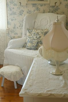 Blue and white shabby chic.  Love the chenille slipcover!
