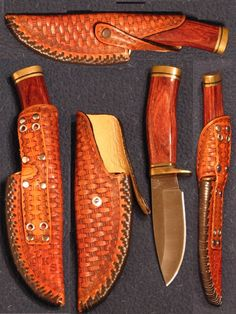 Left handed horseback rider with lining and unusual edge lace Leather Art, Custom Leather, Leather Tooling, Axe Sheath, Knife Sheath, Knife Holster, Holsters, Knife Patterns, Leather Workshop