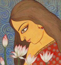 Original Portrait Painting by Suparna Dey Durga Painting, Potrait Painting, Kerala Mural Painting, India Painting, Indian Art Paintings, Madhubani Painting, Oil Paintings, Canvas Art Projects, Diy Canvas Art