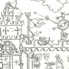 Medieval Castle Colouring In Poster