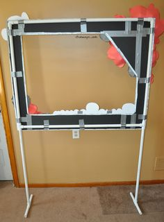 The back of photo booth frame on pvc pipe stand...duck tape is my best friend lol