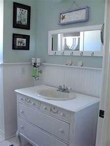 beach cottage bathrooms; love the beadboard; love the dresser-turned-vanity; we already have the sink to set in it