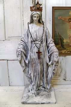Huge Virgin Mary statue distressed shabby chic Madonna figure French Santos inspired home decor anita spero