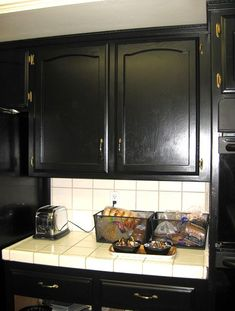 painted kitchen cabinets | How to Paint Kitchen Cabinets Black