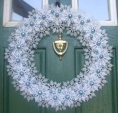 Items similar to Hanukkah Wreath - Indigo Winter Snowflake Wreath - Sapphire and Silver Door Hanger - Unique Seasonal Wreaths - Winter Wonderland - Christmas on Etsy Snowflake Wreath, Christmas Snowflakes, Diy Wreath, Christmas Ornaments, Wreath Ideas, Tulle Wreath, Crochet Snowflakes, Burlap Wreaths, Door Wreaths