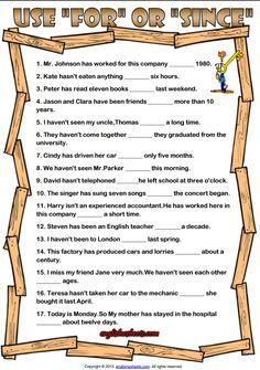 For and Since ESL Grammar Exercise Worksheet
