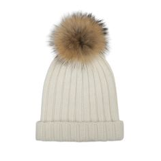 Crafted from soft thick cashmere with an oversized natural raccoon fur pom pom.  Featuring a ribbed design with a fold-over brim, this luxurious hat will ensure your head stays warm and cosy during winter's chilliest months.  Hand wash cold
