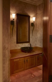 Powder Room  Faux Paint Add A Tile Accent Wall