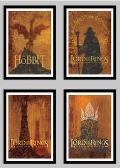 """The Hobbit  Lord of the Rings Collection - 13"""" x 19""""  4 Poster Set - Weathered, Vintage Digital Posters"""