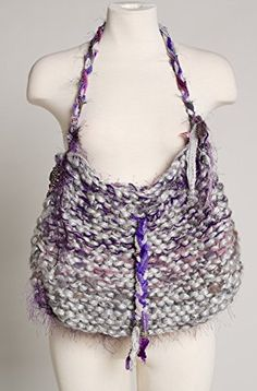 Unique Exquisite Drawstring Lavendar Lined Hand Made Purple Multi Handbag with Beaded Appliques ** Want additional info? Click on the image.