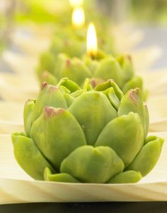 Artichoke candles. I have some of these but they are so pretty that I don't have the heart to burn them.
