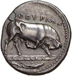 Didracma - argento - Thurioi, Lucania, Italia (400-350 a.C.) - ΘOYPIΩN un toro batte il terreno con lo zoccolo; sulla linea di terra la firma dell'autore MOΛOΣΣOΣ, in basso un pesce o uno squalo - Münzkabinett Berlin
