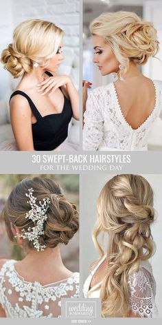 Killer Swept-Back Wedding Hairstyles ❤ If you are not sure which hairstyle to…