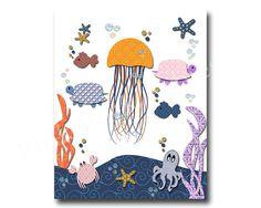 Nautical nursery art ocean nursery decor kids by PinkRockBabies