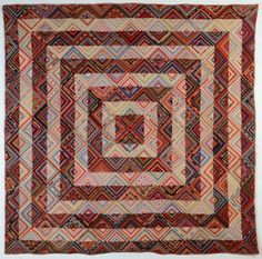 Barnraising Log Cabin Quilt on Square: Ca. 1870; Pa.