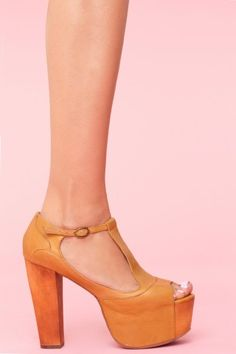 NASTY GAL: Jeffrey Campbell Foxy Platform - Caramel $145.00 I have this shoe!!! but I got it on sale by Jessica Simpson