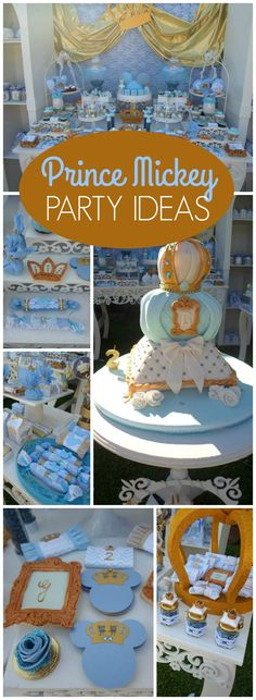 Check out this blue and gold prince party with Mickey Mouse!  See more party ideas at CatchMyParty.com!