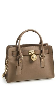 MICHAEL Michael Kors 'Hamilton' Saffiano Leather Satchel available at #Nordstrom.  I like it in Luggage or Grey.