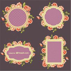 Flowers frame set Free Vector