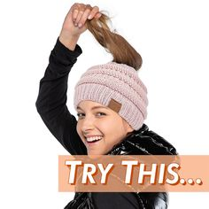Soft Knit Ponytail Beanie - Beanie Season is Back. 🧶 Stay Cozy while Keeping your Style. Check Out More Colors: GlamTouche. Easy Crochet Hat, Crochet Beanie, Crochet Baby, Knitted Hats, Knit Crochet, Crochet Winter, Loom Knitting, Knitting Patterns Free, Crochet Patterns