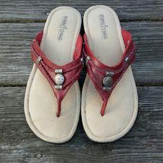 Minnetonka Red Sandals Worn 1 time! Size women's 9. Minnetonka Shoes Sandals