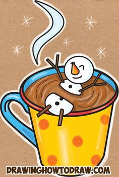 Learn How to Draw a Snowman Swimming in a Hot Cup of Cocoa Simple Steps Drawing Lesson for Beginners for Winter and Snowy Weather