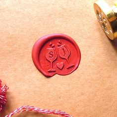 Wax Seal Stamp Two Initials Monogram Wine Glass Stamps by artcarf