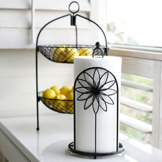 Double basket for makeup on vanity Kitchen Paper Towel, Sunflower Kitchen, Rustic Curtains, Paper Towel Holder, Iron Decor, Home Decor Styles, Home Decor Bedroom, Kitchen Accessories, Home Decor Inspiration