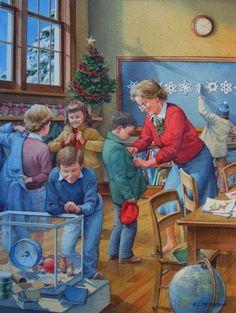 Image result for vintage illustration of kids on Christmas vacation