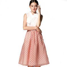Fashion Bowknot Neck Solid Top Polka Dot Skirt Woman 2Pcs