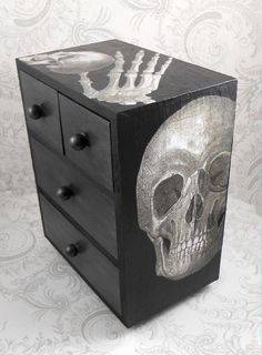 Black and Gray - Skull and Lace - Anatomy Stash Jewelry Box  Four drawer decoupaged jewelry box.  Box is 7 1/4 inches tall, 6 inches wide, and 3 inches deep.  Has a satin finish.