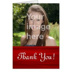 Ruby Red Photo Thank You Note Card.  Personalize with your photo and text.