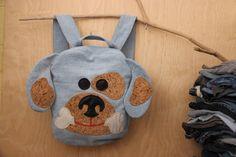 Dog backpack, Puppy backpack , upcycled denim backpack , jeans kids toddler backpack , funy backpack , denim bag , childrens backpack by SecondBirthday on Etsy