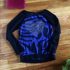 Blue and black zebra sweater w silver heart Silver jeweled heart Sweaters