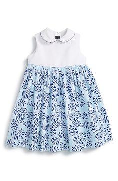 Oscar de la Renta 'Tropical Palm' Sleeveless Dress (Baby Girls & Toddler Girls)