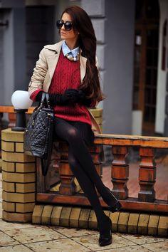 glasses, shirt, coat, sweater, bag, skirt, jewelry, blacks, reds, blues, tans