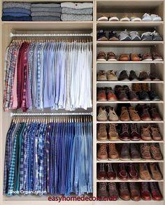 New small clothes closet organization diy shelving ideas Bedroom Closet Storage, Ikea Closet, Master Bedroom Closet, Closet Small, Closet Shelves, Master Bedrooms, Man Closet, Simple Closet, Bedroom Small