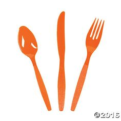 Orange High Count Cutlery Set