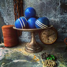 A personal favorite from my Etsy shop https://www.etsy.com/listing/260882444/blue-balls-croquet-balls-set-of-7