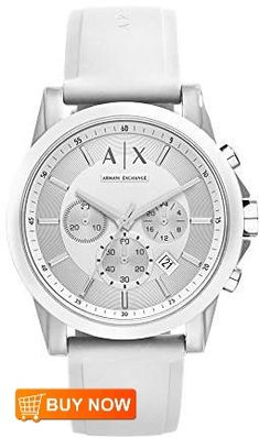 e09cc2656 AX Armani Exchange Unisex Chronograph White Silicone Strap Watch by Armani  Exchange The stark beauty of white against silve.
