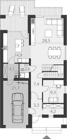 Rzut parteru projektu Dostępny 4A Craftsman Floor Plans, Garage, Facade House, Architecture, Future House, Bungalow, Building A House, House Plans, New Homes