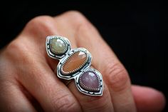 Temple Ring with Sapphires Peach Moonstone by ChristineMighion