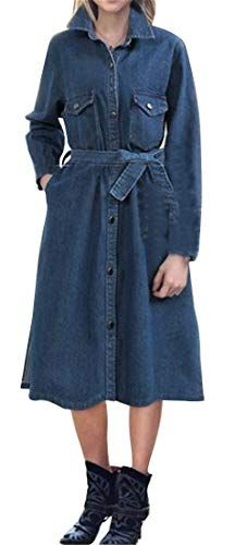 7888909ab5000 Jotebriyo Women Autumn Winter Single Breasted Belted Plus Size Denim Jacket  Trench Coat Dark Blue XL Best Winter Coats for Women USA