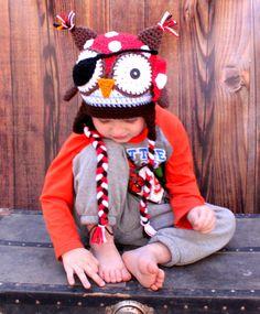 Crochet Pirate Owl hat by KrazyHats1 on Etsy