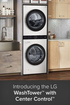 "The new WashTower™ from LG is a ""one body"" solution designed from the ground up to provide consumers with total clothing care and the ultimate user experience. These advanced laundry centers demonstrate LG's commitment to enhancing user convenience and space efficacy through its streamlined, stacked design that sports several powerful cycles and smart device compatibility. Best Washer Dryer, Stackable Washer And Dryer, Stacked Washer Dryer, Laundry Decor, Laundry Room Design, Laundry Appliances, Home Appliances, Laundry Center, Laundry Solutions"