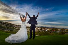 #takingtheplunge #justmarried #weddingday #bride #groom #sunset #sky #photography #anthonyziccardistudios