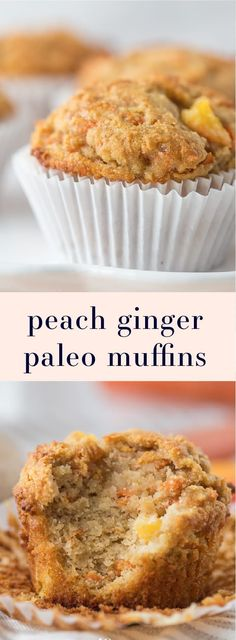 These peach ginger paleo muffins are moist and tender full of fruity fresh peaches and earthy ginger. The best thing about these paleo muffins? They don't taste like they're paleo! Grain-free gluten-free and refined sugar-free these make an awesome p Paleo Dessert, Paleo Sweets, Dessert Recipes, Dinner Recipes, Paleo Dinner, Entree Recipes, Köstliche Desserts, Gluten Free Desserts, Gluten Free Recipes