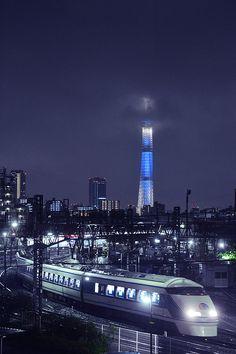 Japan - Train and Tokyo Sky Tree at Night