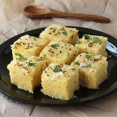 Spongy Khaman Dhokla - Popular Gujarati Snack for Breakfast - Instant Dhokla Made From Gram Flour (besan) - Serve with Green Chutney - Step by Step Photo Recipe